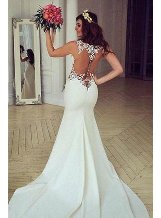 Trumpet/Mermaid Scoop Chapel Train Wedding Dress With  ...