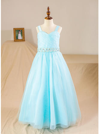 Straps Ball Gown Flower Girl Dresses Tulle Beading/Sequins/Rhinestone Sleeveless Floor-length