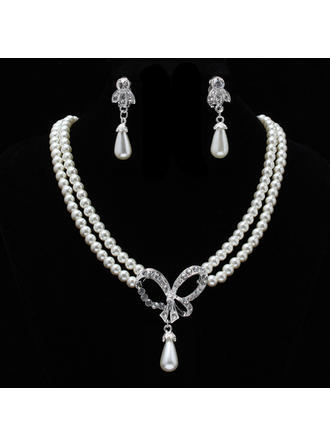 Jewelry Sets Pearl Rhinestone Lobster Clasp Earclip Wedding & Party Jewelry