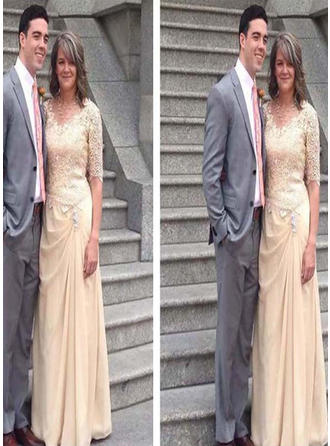 A-Line/Princess V-neck Floor-Length Mother of the Bride Dresses With Ruffle