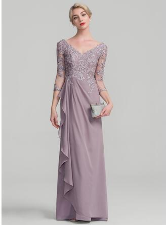 A-Line/Princess V-neck Floor-Length Chiffon Lace Evening Dress With Beading Sequins Cascading Ruffles
