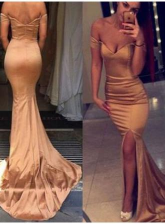 Silk Like Satin Sleeveless Trumpet/Mermaid Prom Dresses Off-the-Shoulder Split Front Court Train