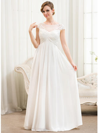 A-Line Illusion Floor-Length Chiffon Wedding Dress With Ruffle Appliques Lace