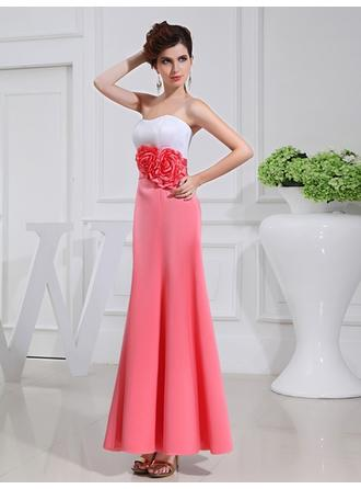 A-Line/Princess Satin Bridesmaid Dresses Flower(s) Strapless Sleeveless Ankle-Length (007218074)