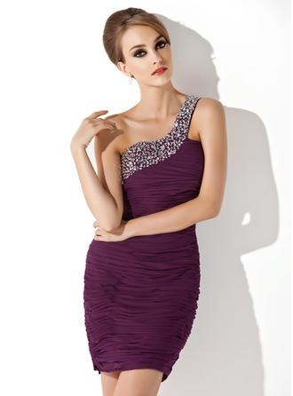 Sheath/Column One-Shoulder Short/Mini Chiffon Cocktail Dress With Ruffle Beading Sequins
