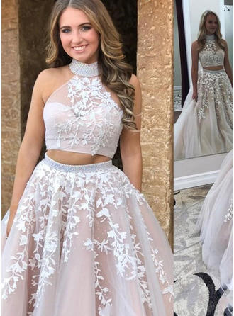 A-Line/Princess Tulle Prom Dresses Appliques Lace High Neck Sleeveless Sweep Train
