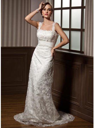 Sheath/Column Watteau Train Wedding Dress With Ruffle Beading