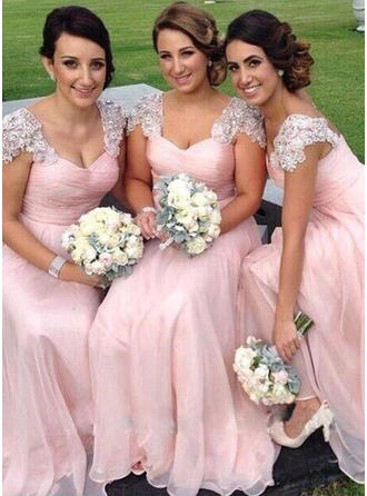 Chiffon Sleeveless A-Line/Princess Bridesmaid Dresses Sweetheart Appliques Lace Floor-Length