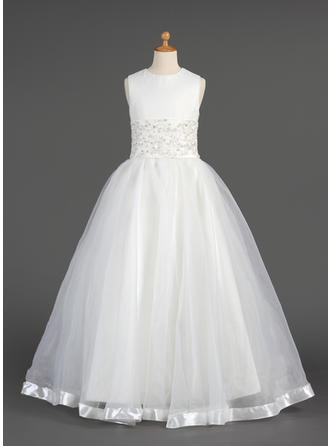 A-Line/Princess Scoop Neck Floor-length With Lace/Beading Organza Flower Girl Dress