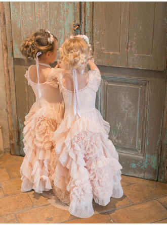 A-Line/Princess/A-Line/Princess Scoop Neck Floor-length With Ruffles Tulle Flower Girl Dress