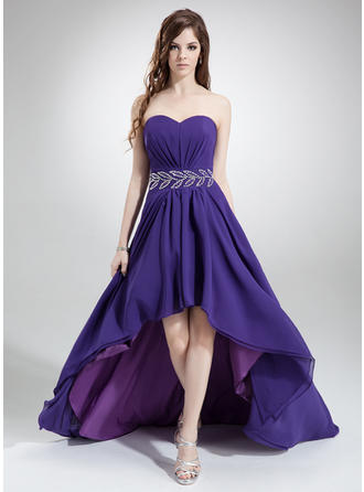 Simple Chiffon Prom Dresses A-Line/Princess Asymmetrical Sweetheart Sleeveless