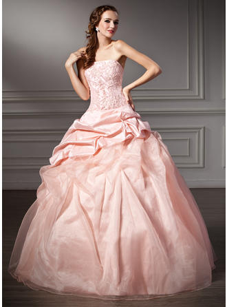 Ball-Gown Strapless Floor-Length Taffeta Organza Prom Dress With Ruffle Lace Beading