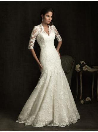Trumpet/Mermaid V-neck Chapel Train Wedding Dresses With Lace