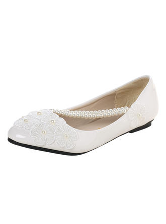 Women's Closed Toe Flats Flat Heel Lace Leatherette With Imitation Pearl Applique Wedding Shoes