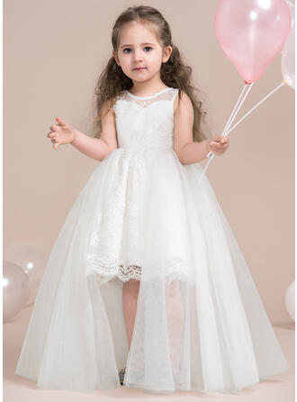 A-Line/Princess Scoop Neck Knee-length With Lace/Appliques Tulle/Lace Flower Girl Dress