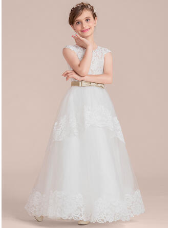 Ball Gown Floor-length Flower Girl Dress - Satin/Tulle/Lace Sleeveless Scoop Neck With Sash/Bow(s)