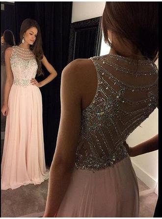 A-Line/Princess Scoop Neck Sweep Train Evening Dress With Beading Sequins