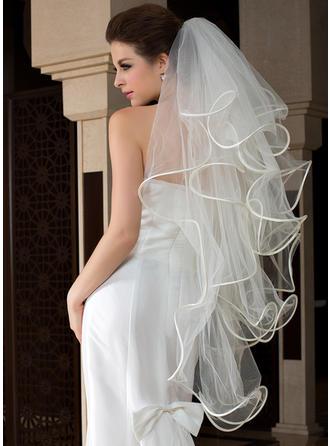Voile de mariée longueur bout des doigts Tulle 4 couches Coupe ange/Cascade/Cascade avec Bord festonné Voiles de mariage