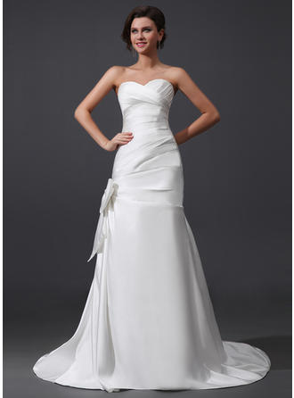 Stunning Court Train A-Line/Princess Wedding Dresses Sweetheart Satin Sleeveless