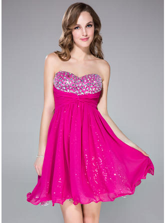 Sweetheart Chiffon Prom Dresses Empire Short/Mini Sweetheart Sleeveless