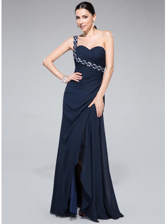 2019 New Sheath/Column Chiffon Floor-Length Sleeveless Prom Dresses