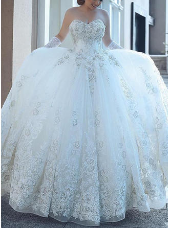 Sweetheart Ball-Gown Wedding Dresses Tulle Beading Appliques Sleeveless Cathedral Train
