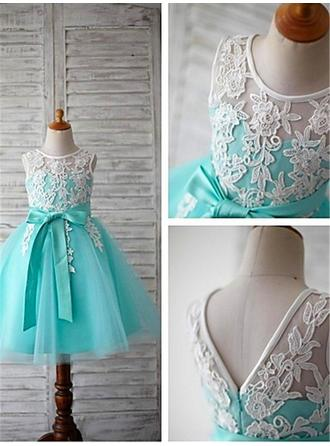 Scoop Neck Ball Gown Flower Girl Dresses Tulle Sash/Appliques/Bow(s) Sleeveless Tea-length