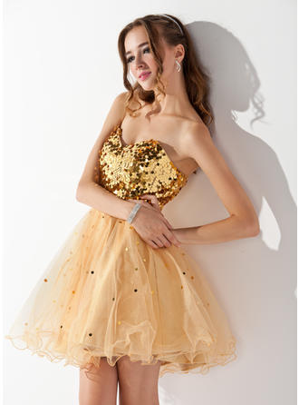 A-Line/Princess Sweetheart Short/Mini Tulle Sequined Homecoming Dresses