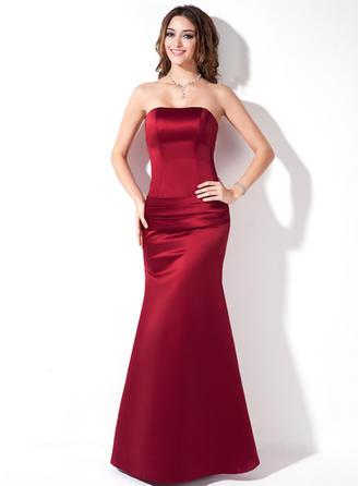 Trumpet/Mermaid Strapless Floor-Length Satin Bridesmaid Dress With Ruffle