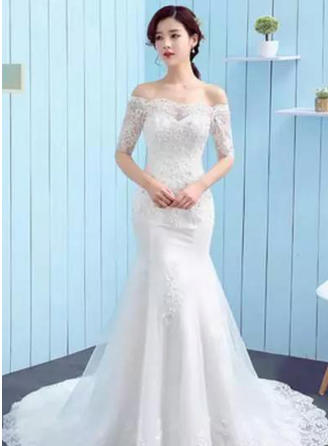 Trumpet/Mermaid Off-The-Shoulder Court Train Wedding Dress With Lace Beading Appliques Lace