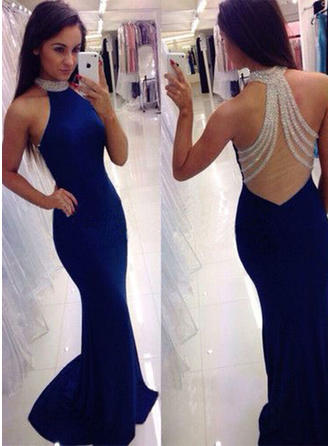 Trumpet/Mermaid Jersey Prom Dresses Glamorous Sweep Train Scoop Neck Sleeveless