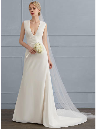 Sheath/Column V-neck Court Train Chiffon Wedding Dress With Ruffle