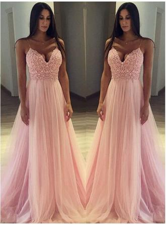 Beautiful Tulle Evening Dresses A-Line/Princess Sweep Train V-neck Sleeveless