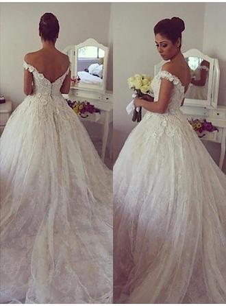 Princess Court Train Ball-Gown Wedding Dresses Off-The-Shoulder Tulle Sleeveless