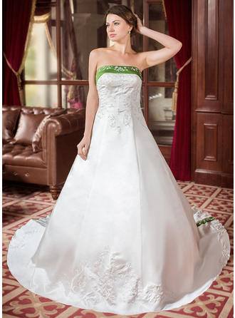 A-Line/Princess Sash Beading Satin Royal Train Three-dimensional Wedding Dresses