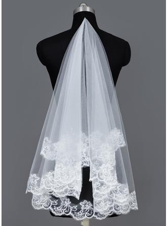 Voiles de mariée valse Tulle 1 couche Style Classique avec Bord en dentelle Voiles de mariage