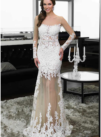 Sheath/Column Scoop Neck Floor-Length Evening Dresses