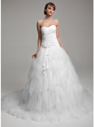 Ball-Gown Chapel Train Wedding Dress With Ruffle Flower(s)