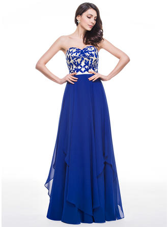 Chiffon Sleeveless A-Line/Princess Prom Dresses Sweetheart Lace Cascading Ruffles Floor-Length
