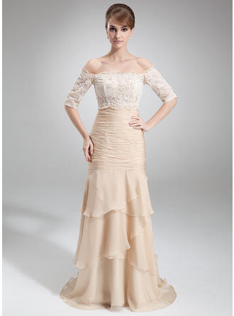 Elegant Chiffon Strapless Trumpet/Mermaid Mother of the Bride Dresses