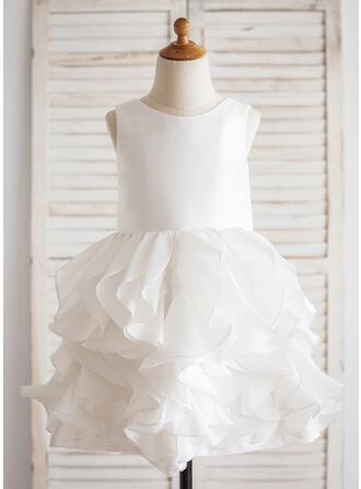 Ball Gown Knee-length Flower Girl Dress - Taffeta Sleeveless Scoop Neck