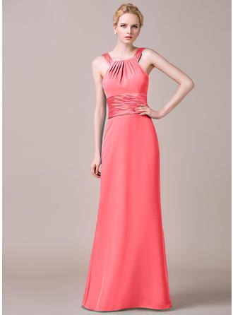 Sheath/Column Chiffon Bridesmaid Dresses Ruffle Scoop Neck Sleeveless Floor-Length
