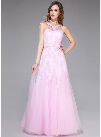 Tulle Sleeveless Trumpet/Mermaid Prom Dresses V-neck Ruffle Appliques Lace Bow(s) Floor-Length