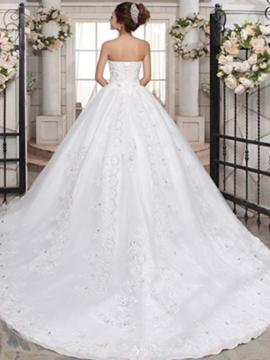 Ball-Gown Sweetheart Cathedral Train Wedding Dress With Beading Appliques Lace Sequins