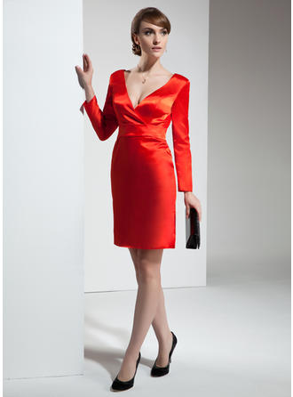 V-neck Sheath/Column Long Sleeves Stunning Charmeuse Cocktail Dresses