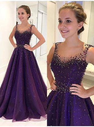 A-Line/Princess Scoop Neck Floor-Length Tulle Prom Dress With Beading (018210932)