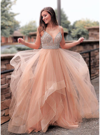 Tulle Sleeveless A-Line/Princess Prom Dresses V-neck Beading Sweep Train
