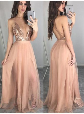 Tulle Sleeveless A-Line/Princess Prom Dresses V-neck Sequins Floor-Length