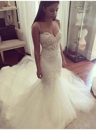 Simple Sweetheart Trumpet/Mermaid Wedding Dresses Chapel Train Tulle Sleeveless