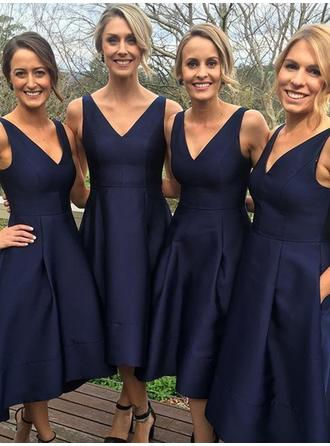 A-Line/Princess V-neck Sleeveless Tea-Length Satin Bridesmaid Dresses